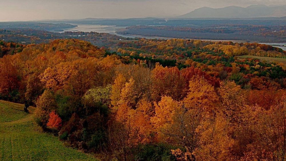 View of Hudson River Valley in autumn